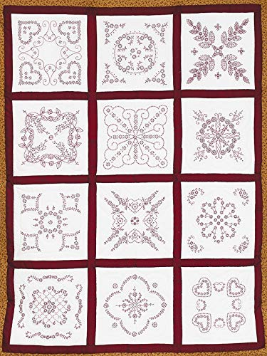 (Jack Dempsey Needle Art 7411 Sampler Vintage Revival Quilt, 12 Block, 18-Inch by 18-Inch, White)