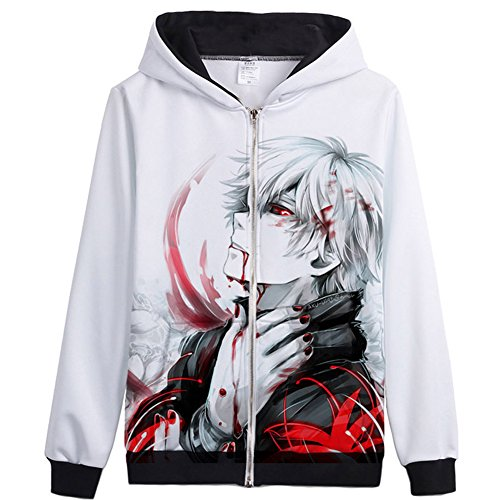 Anime Tokyo Ghoul Cosplay Kaneki Ken Full Zip Hoodie Jacket Coat US M With Label XL