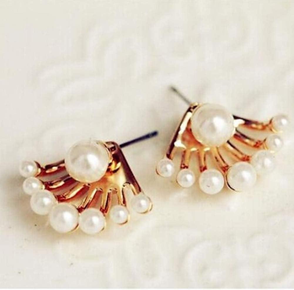 BGBG Pendientes de Mujer Pendientes de Perlas de Mujer Chaqueta Pendiente mágico de la Espalda Estilo Mujer Pendientes de imitación de Moda Pendientes chapados en Oro