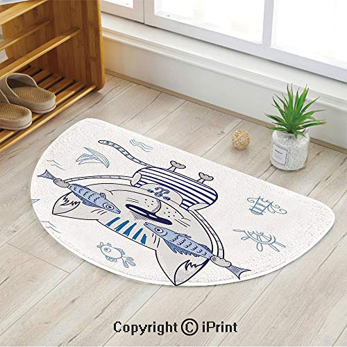 LEFEDZYLJHGO Half Circle Mat for Front Door Inside Floor Dirt Entrance Rug,Naughty Cat with Fish in Striped T Shirt Anchor Pendant and Nautical Sign,47
