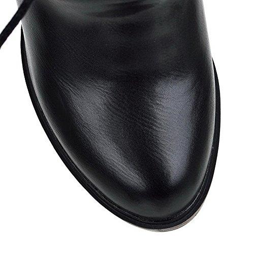 Allhqfashion Dames Effen Pu Hoge Hakken Lace-up Ronde Dichte Neus Laarzen Zwart