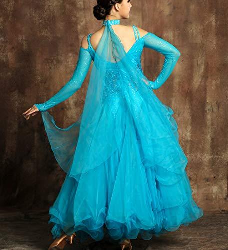Dresses Danse Moderne Wqwlf Pour Blue Balançoires National Ballroom Manches Femmes Costume De Robe Performance Jupe Compétition Grandes Standard s À Longues lFJcTK13