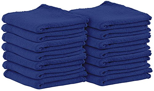 Shop Towels (Pack of 25, 13 X 13 Inches) Commercial Grade Machine Washable Cotton Washcloths Lint Free Blue Shop Rag - Perfect for Auto Mechanic Work and Bar Mop by Utopia Towel