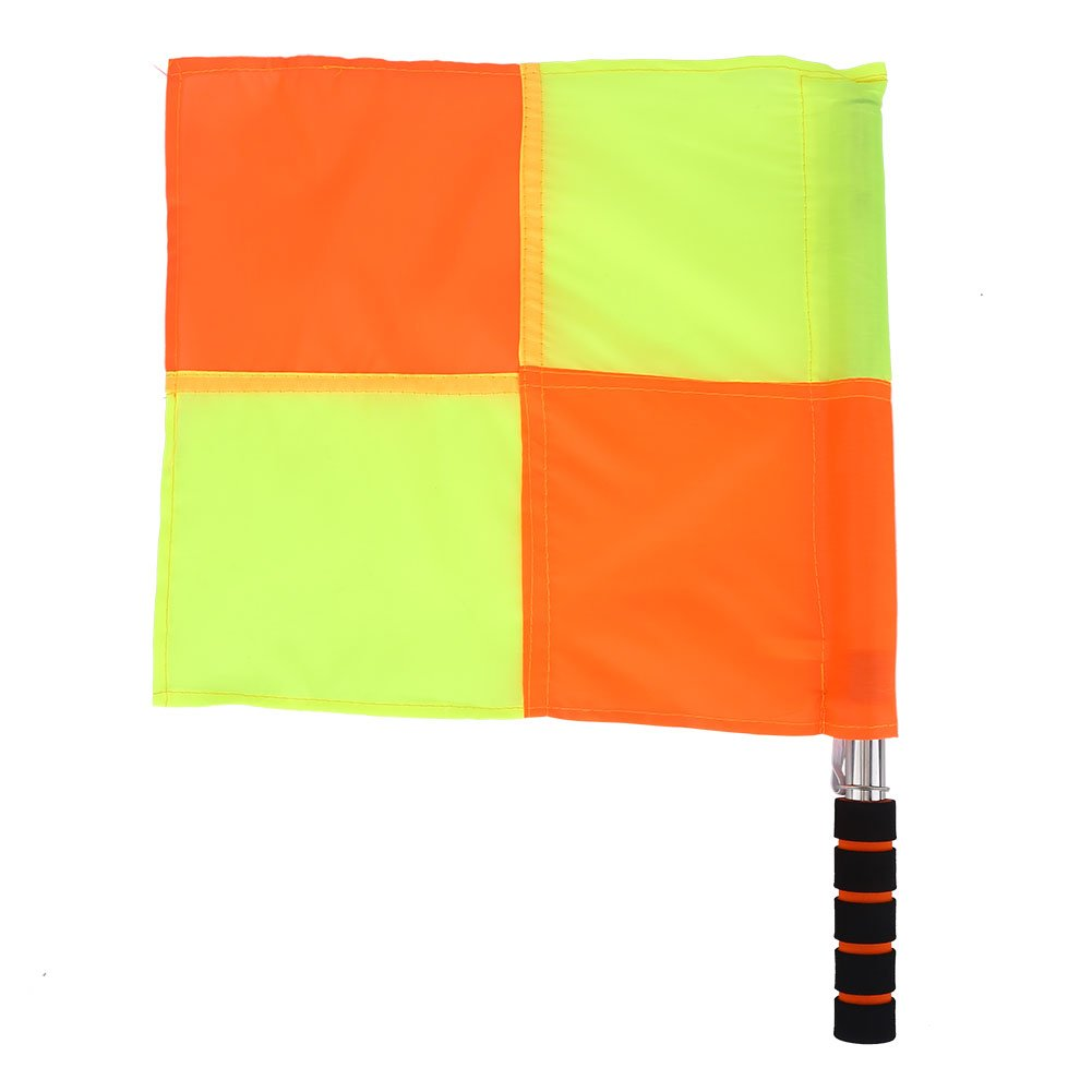 2Pcs Referee Linesman Flag, Official Size Highly Visible, Red & Yellow Checkered Hand Flags With Durable Stainless Steel Rods And A Bag for Sports Match Soccer Football Hockey Training