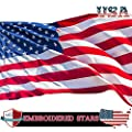 VIEKEY American Flag US Flag 3x5 ft Embroidered Stars Sewn Stripes Brass Grommets Quality Oxford Nylon