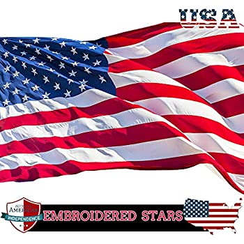 3b230ad3a64406 VIEKEY American Flag US Flag 3x5 ft Embroidered Stars Sewn Stripes Brass  Grommets Quality Oxford Nylon