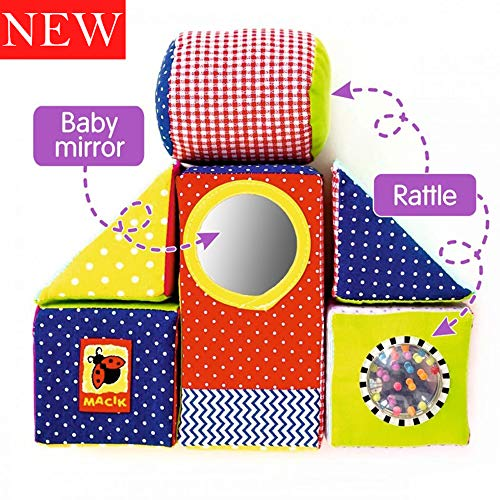 MACIK baby Soft Blocks for kids - baby Stacking toys baby Development toys - fine motor skills toys Soft Cubes - Soft infant toys 6m baby toys Rattle toy baby educational toys 12-18 months - Soft toys by MACIK