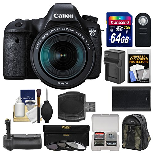 canon eos 6d digital slr camera body ef 24 105mm is stm lens with 64gb card canon backpack battery charger grip 3 filters kit