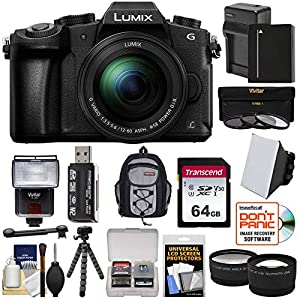 Panasonic Lumix DMC-G85 4K Wi-Fi Digital Camera & 12-60mm Lens with 64GB Card + Battery & Charger + Backpack + Tripod…