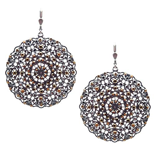 Catherine Popesco Black Metallic & Dorado Swarovski Crystal Filigree Medallion Silvertone - Crystal Swarovski Filigree Earrings