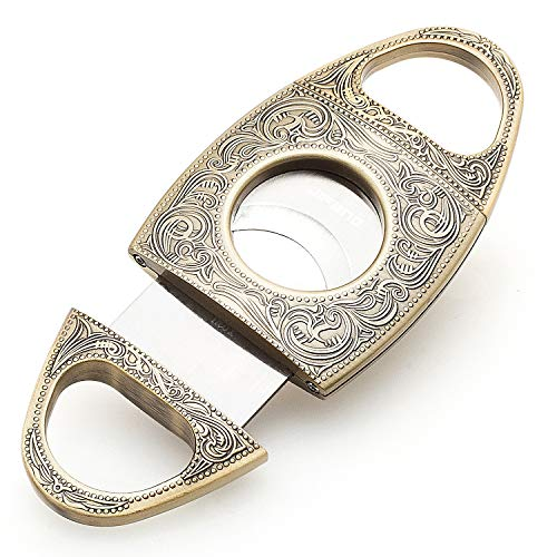 JIFENG® Cigar Cutter - Antique Bronze Floral Small Studs Western Engraved - Duty Heavy Metal Cigar Guillotine - Double Self Sharpening Blade - Elegant Pouch and Gift Box Included - Portable Cigar Tool
