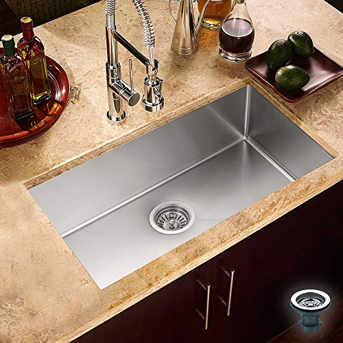 BATH MASTER Kitchen Sink 30-Inch (30''x 18''x 10'') 18 Gauge Stainless Steel Single Bowl Undermount Drop In Bar Sink with Drain Strainer Kit(SR3018)