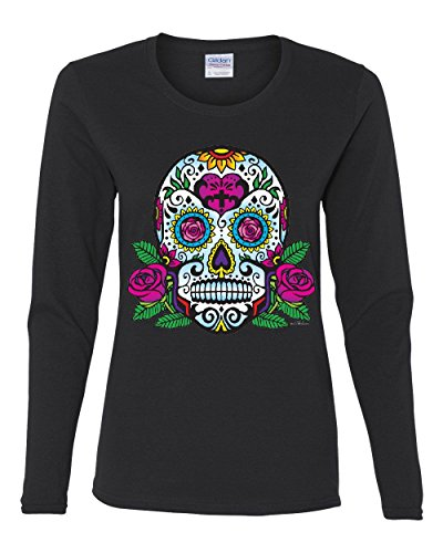 Sugar Skull with Roses Day of The Dead Long Sleeve T-Shirt Calavera Black S (Day Of The Dead Long Sleeve T Shirts)