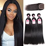 Natural Human Hair Extensions--100% Unprocessed Virgin Human Hair--8a Brazilian Straight Human Hair Weave--95-100g/bundle,Double Weft,Tight and Neat--High elasticity & Bouncy,Shedding&Tangle Free--Thick and Healthy End,No Split Hair--...