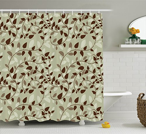 Beige Leaf Vine (Ambesonne Leaves Decor Collection, Pattern with Vines Leaves Nature Curvy Branches Plants Garden Floral Illustrated Art, Polyester Fabric Bathroom Shower Curtain, 75 Inches Long, Brown Beige)