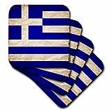 3dRose Sven Herkenrath Flags - Greek Flag Old Look Trendy Work - set of 8 Coasters - Soft (cst_255835_2)