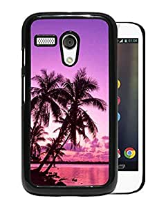 Fashionable Custom Designed Cover Case For Motorola Moto G With Tropical Palm Trees Sunset Beach Black Phone Case