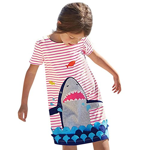 Simayixx Toddler Baby Kid Girl Shark/Birds Print Dress Short Sleeve Striped Dress Outfit Clothes (3T, Red) (100, Red)