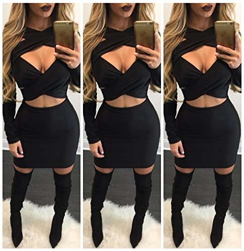 Luluka Women'S Long Sleeve Sexy Halter Criss Cross Bandage Party Club Mini Dress Small Black