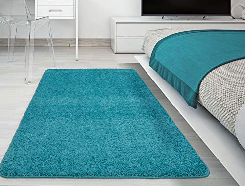 (Ottomanson Luxury Collection Turquoise Blue Shag Area Rug with Non-slip(rubber-backing) Area Rugs (5'x6'6