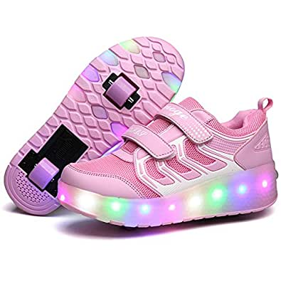 Ufatansy Kids Wheelies Lightweight Fashion Sneakers LED Light Up Shoes Single Wheel Double Wheels Roller Skate Shoes (EU28, Double Wheel Pink)