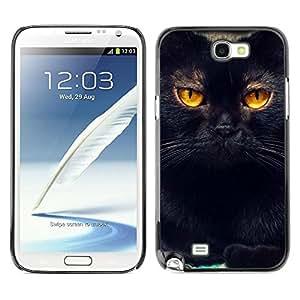 Be Good Phone Accessory // Dura Cáscara cubierta Protectora Caso Carcasa Funda de Protección para Samsung Note 2 N7100 // Black Cat Feline Orange Bombay Chartreux