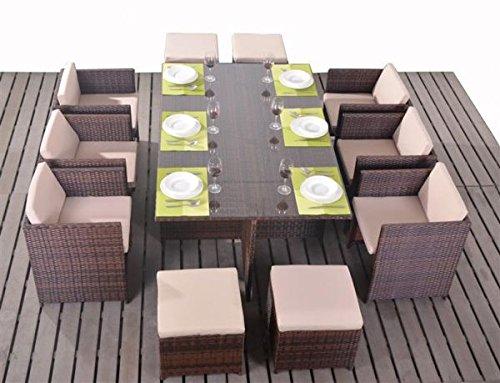 polyrattan essgruppe tischset w rfel cube f r 10 personen braun online kaufen. Black Bedroom Furniture Sets. Home Design Ideas