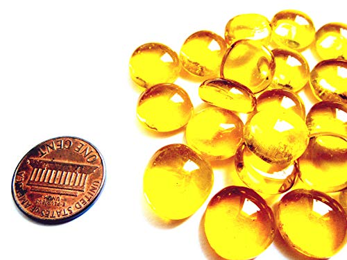 50 Mini Clear Yellow Glass Gems, 11-14 mm, Flat Back Glass Marbles,Vase Fillers, Mosaic Tiles, Small ()