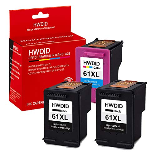 HWDID 61XL Remanufactured Ink Cartridge Replacement for HP 61 XL CH563WN CH564WN(2 Black 1 Tri-Color) Compatible for Envy 4500 Officejet 4630 Deskjet 1050 1510 2540 3510 Printer -3 Pack