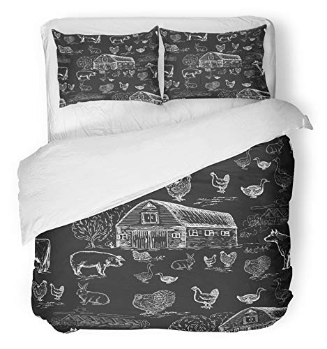 Emvency 3 Piece Duvet Cover Set Breathable Brushed Microfiber Fabric Hand Farm Animals Chalkboard Style Cows Geese Chickens Pigs Turkey House Vintage Bedding Set with 2 Pillow Covers Twin Size by Emvency