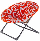 K&A Company Chair Saucer Moon Folding Seat Kids Round Animal Prints New Lounge Dorm Comfortable Dish Child Large