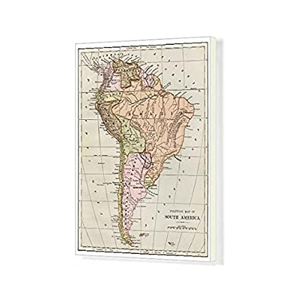image relating to Printable Map of South America named : Media Storehouse 20x16 Canvas Print Map South