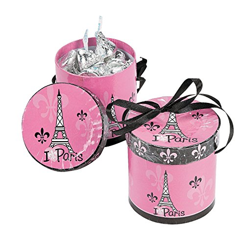 Fun Express Perfectly Paris Hat Party Treat Boxes - Set of 8 ()