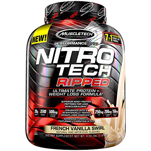 MuscleTech Nitro Tech Ripped Ultra Clean Whey Protein Isolate Powder + Weight Loss Formula, Low Sugar, Low Carb, French Vanilla Swirl, 4 Pounds