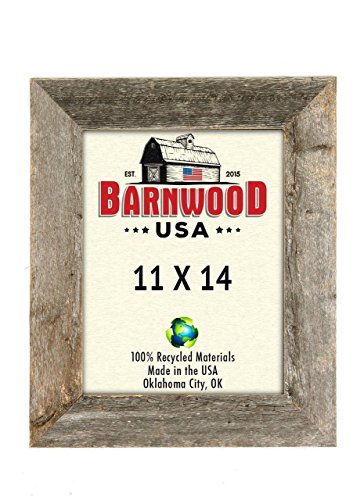 BarnwoodUSA Rustic 11x14 Inch Picture Frame with 2 Inch Wide Molding - 100% Reclaimed Wood, Weathered Gray