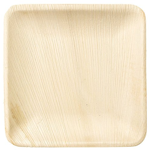 Elegant Leaf (Disposable Plates by PalmPlates - 25 Palm Leaf Plates (8 Inch SQUARE) / 100% Natural Eco Friendly Compostable Tableware / CATERING EVENTS - Wedding Buffet BBQ Birthday Celebration)