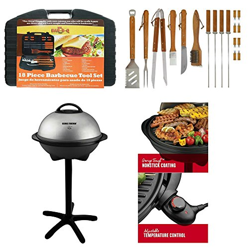 18-Piece Stainless-Steel Barbecue Set Plus Storage Case By Mr. Bar-B-Q & George Foreman Silver Indoor/Outdoor Electric Grill, Kitchen Utensils & Tools, Heavy Duty, Non-Stick, Charcoal, Propane Free