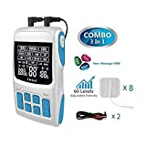 TENS Unit+EMS Muscle Stimulator+ Pulse Massager 3-in-1 Combination, 36 Modes for Pain Relief & Muscle Strength, Level 60 Strength Control,2Channels Output,8 Pads.