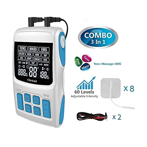 Ortal The FDA Certified TENS Unit+EMS Muscle Stimulator+ Pulse Massager 3-in-1 Combination, 36 Modes for Pain Relief & Muscle Strength, Level 60 Strength Control,2Channels Output,8 Pads. ()