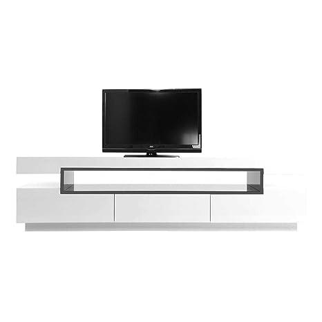 Miliboo - Mobile porta TV design laccato bianco LIVO: Amazon.it ...