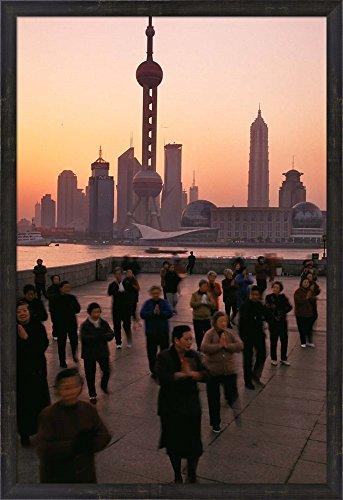 Chi Tai Tower (Tai-Chi on the Bund, Oriental Pearl TV Tower and High Rises, Shanghai, China by Keren Su / Danita Delimont Framed Art Print Wall Picture, Espresso Brown Frame, 26 x 38 inches)