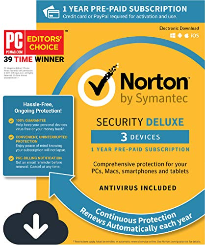 Norton Security Deluxe – 3 Devices, 1 Year Pre-Paid Subscription, Renews automatically for uninterrupted protection [PC/Mac/Mobile Download] from Symantec