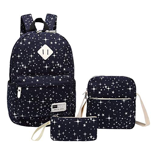 Backpack For School,Yezijin 3PC Women Ladies Girl Canvas Laptop Star Handbag Shoulder Backpack Purse Bags Large Lightweight