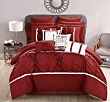 Chic Home CS2768-AN Ashville 16 Piece Bed in A Bag Comforter Set, Red, Queen