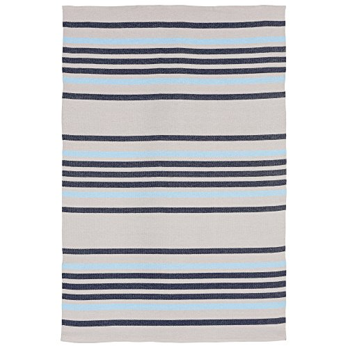 Liora Manne Plaza Stripe Indoor/Outdoor Rug Navy 5'X7'6
