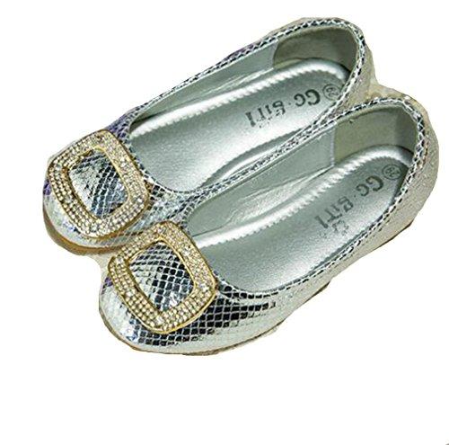 Ohmais Kinder Mädchen flach Freizeit Sandalen Sandaletten Kleinkinder Mädchen Halbschuhe Sandalette Ballerinas Silber