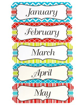 Renewing Minds Isabella Monthly Calendar Headers, 5 x 16 inches, Multi-Colored, 12 Pieces