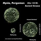 1045 Zeus / Coiled Serpent. Owl. Mysia, Pergamon. 133 BC. Large Ancient Greek Coin. Bronze About Good