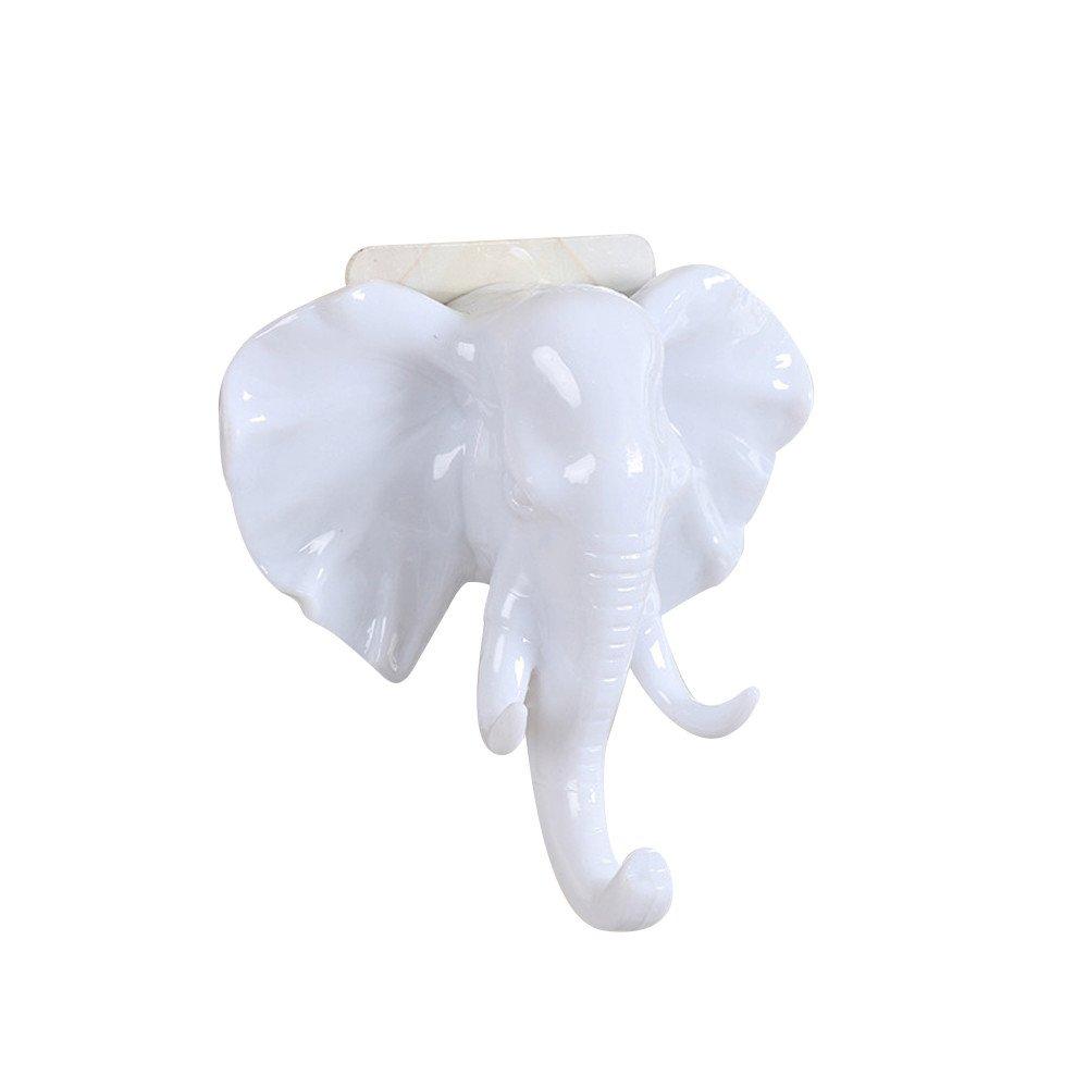 Eolgo Wall Hooks Elephant Head Self Adhesive Wall Door Hook Bag Bedroom Bathroom Kitchen Keys Cloth Hats Sticky Holder Hanger (White, 1PC)