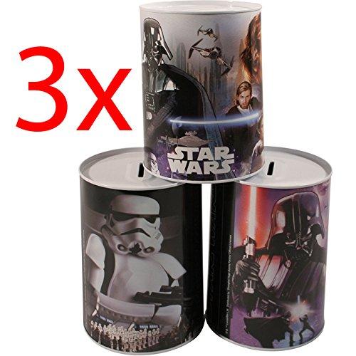 3 X STAR WARS KIDS MONEY TIN PIGGY BANK SAVING COINS BOX CASH FUNDS SAVER NOTES NT